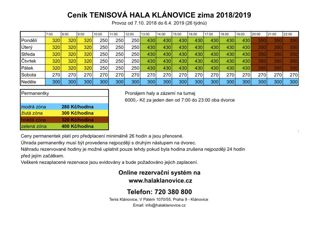 Ceník tenisová hala Klánovice
